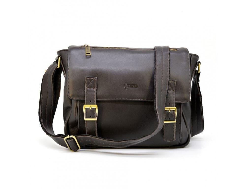 Тёмно-коричневая кожаная сумка через плечо TARWA GC-6046-2md - Фото № 1