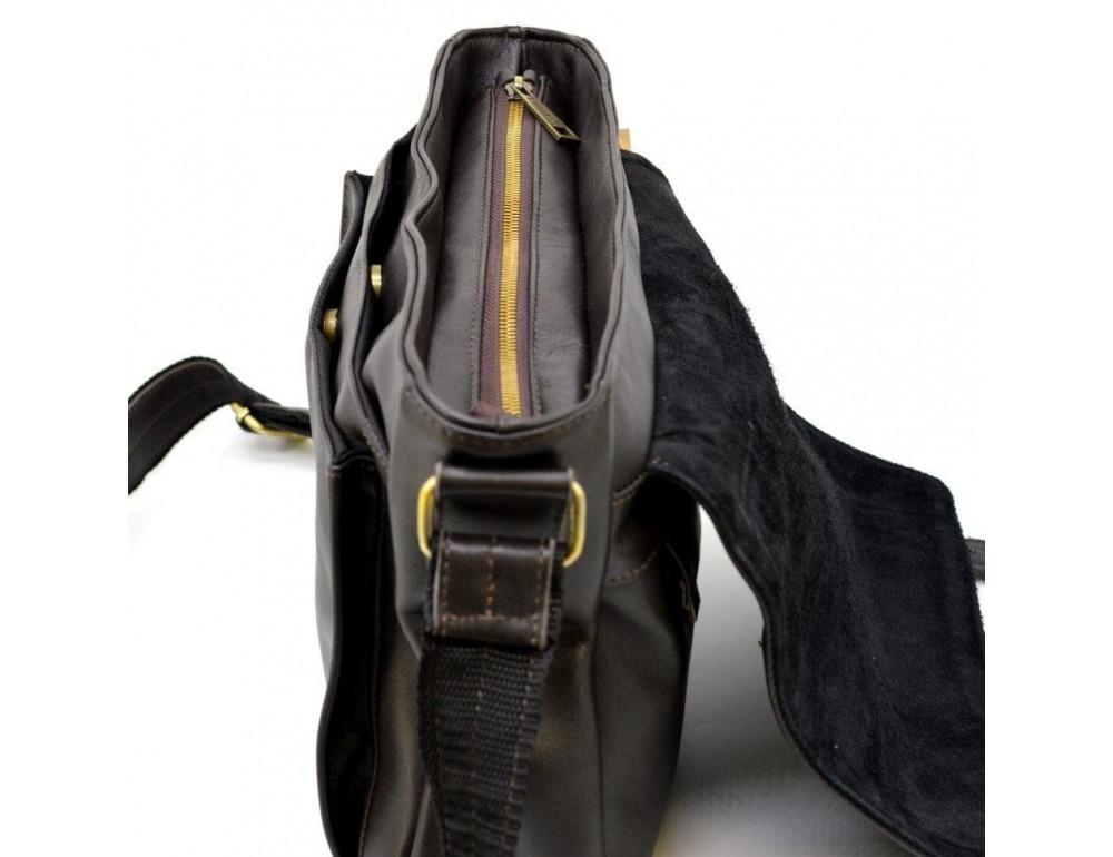 Тёмно-коричневая кожаная сумка через плечо TARWA GC-6046-2md - Фото № 7