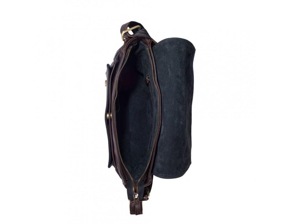 Тёмно-коричневая кожаная сумка через плечо TARWA GC-6046-2md - Фото № 8
