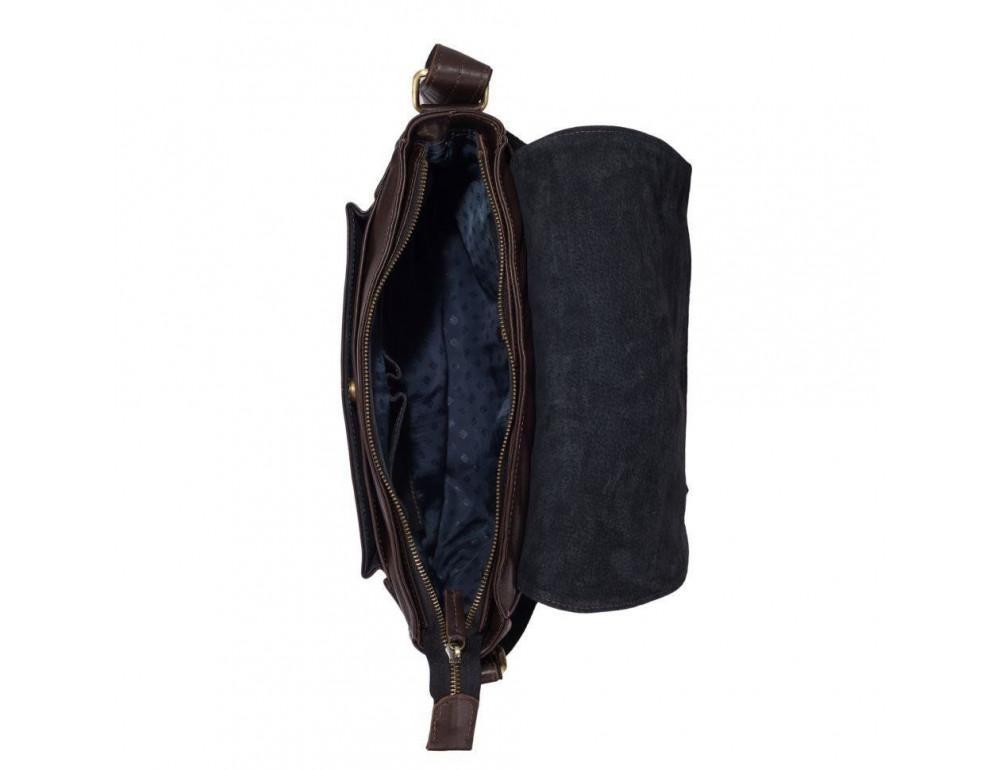 Тёмно-коричневая кожаная сумка через плечо TARWA GC-6046-2md - Фото № 9