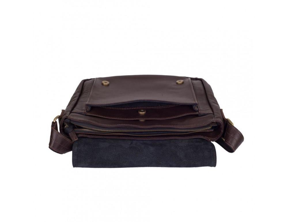 Тёмно-коричневая кожаная сумка через плечо TARWA GC-6046-2md - Фото № 10