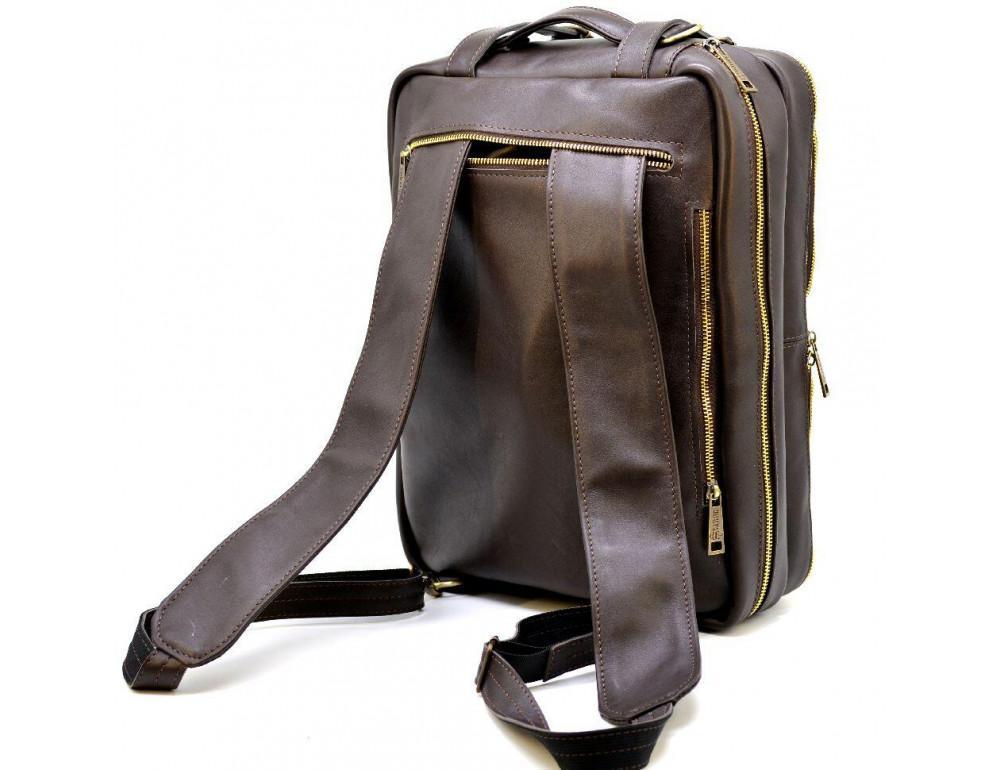 Коричневая кожаная сумка-трансформер с двумя отделениями TARWA GC-7014-3md - Фото № 4