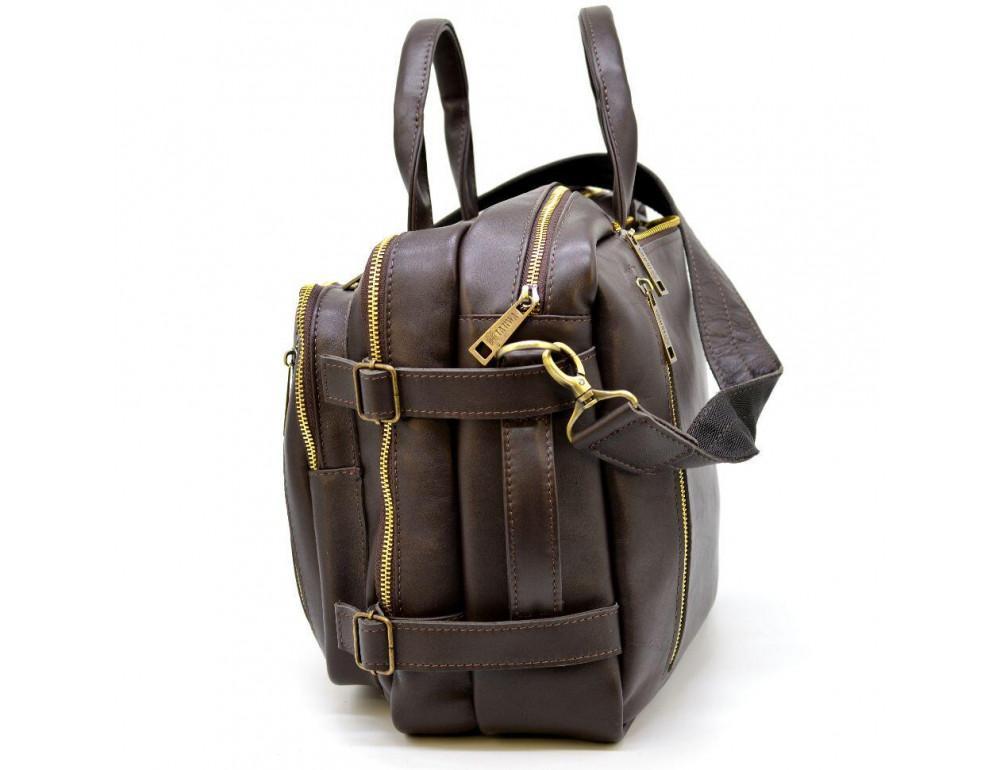 Коричневая кожаная сумка-трансформер с двумя отделениями TARWA GC-7014-3md - Фото № 5