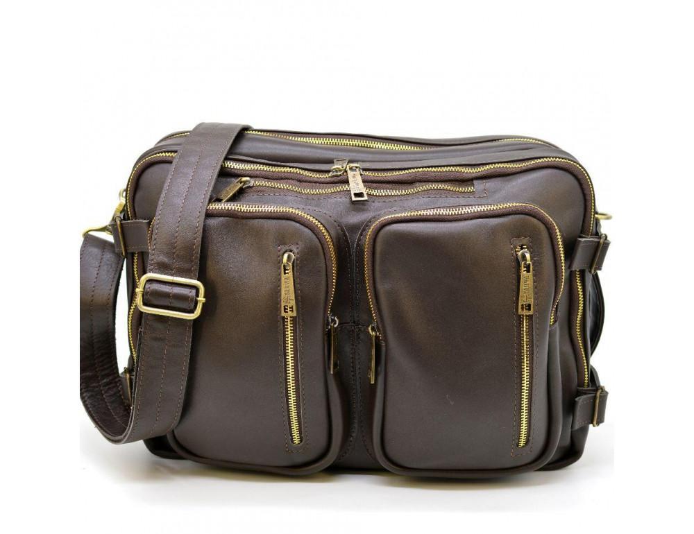 Коричневая кожаная сумка-трансформер с двумя отделениями TARWA GC-7014-3md - Фото № 6