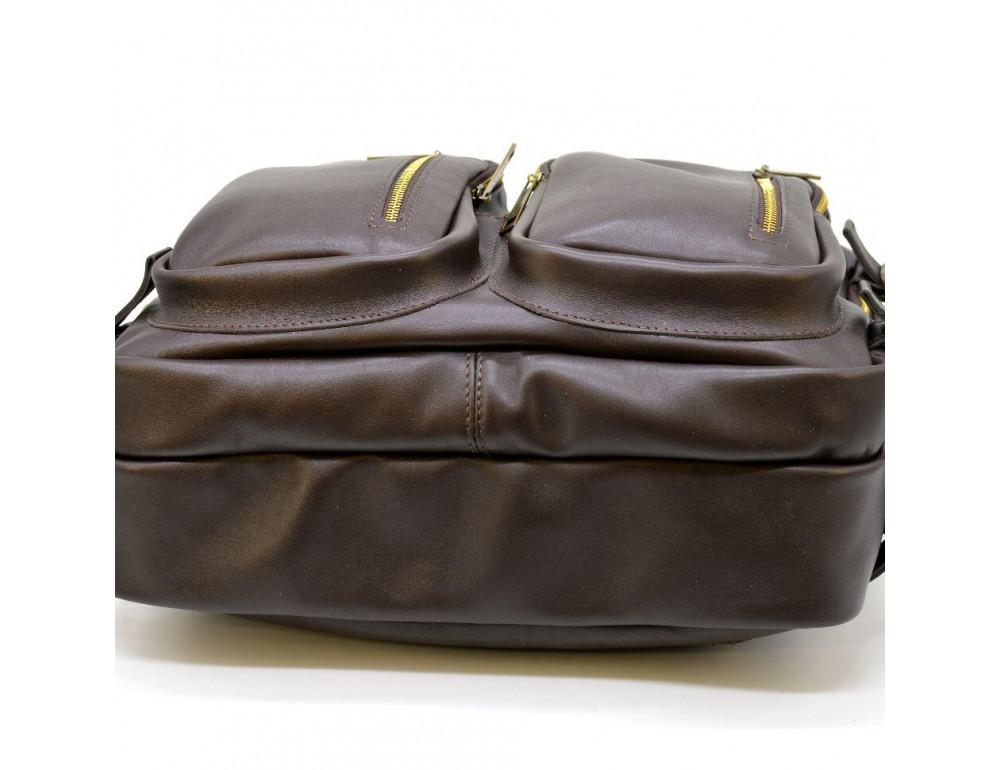 Коричневая кожаная сумка-трансформер с двумя отделениями TARWA GC-7014-3md - Фото № 7