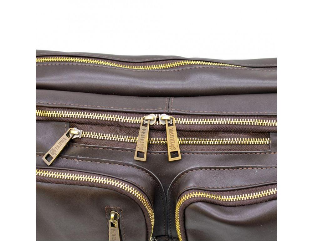 Коричневая кожаная сумка-трансформер с двумя отделениями TARWA GC-7014-3md - Фото № 8