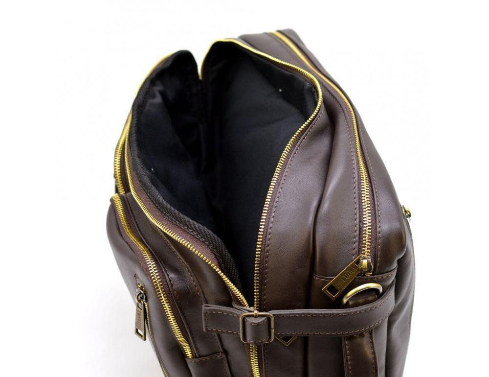 Коричневая кожаная сумка-трансформер с двумя отделениями TARWA GC-7014-3md - Фото № 9