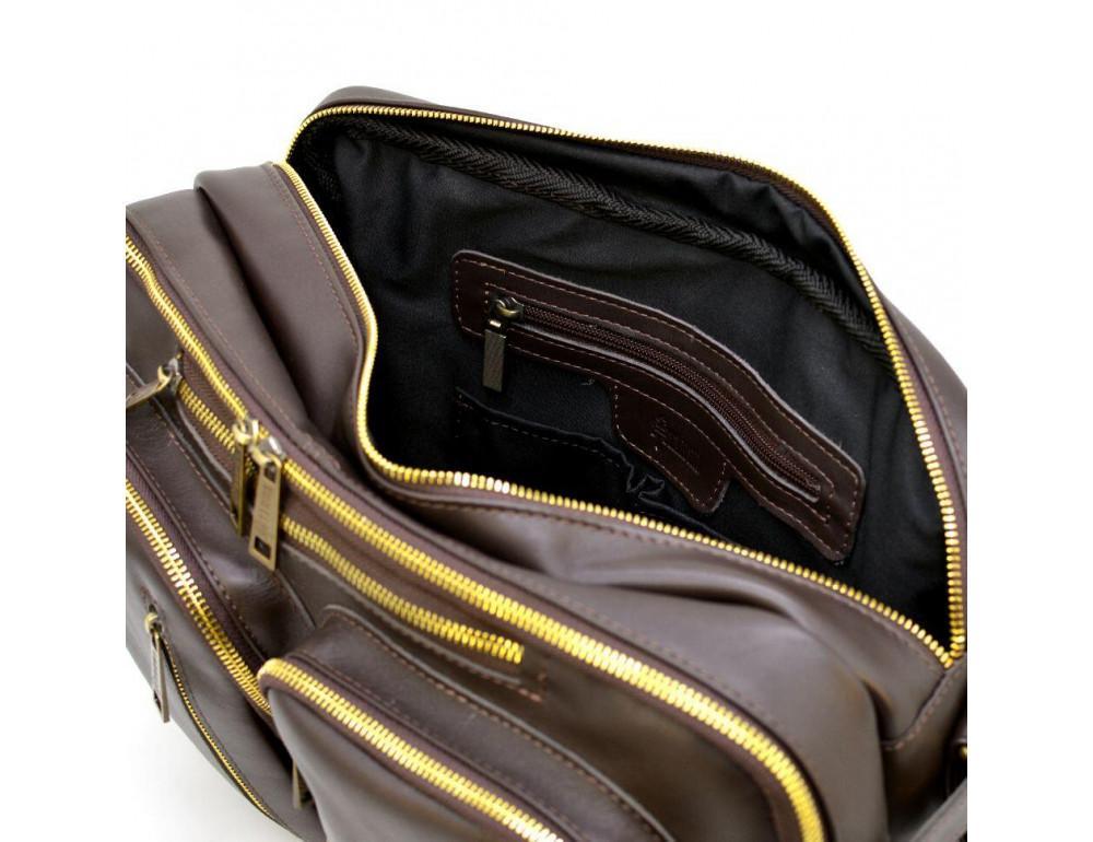 Коричневая кожаная сумка-трансформер с двумя отделениями TARWA GC-7014-3md - Фото № 10