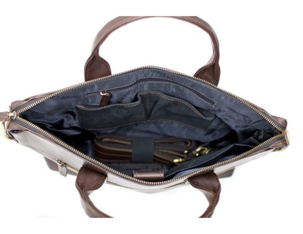 Коричневая кожаная сумка под документы TARWA  GC-7120-2md - Фото № 6