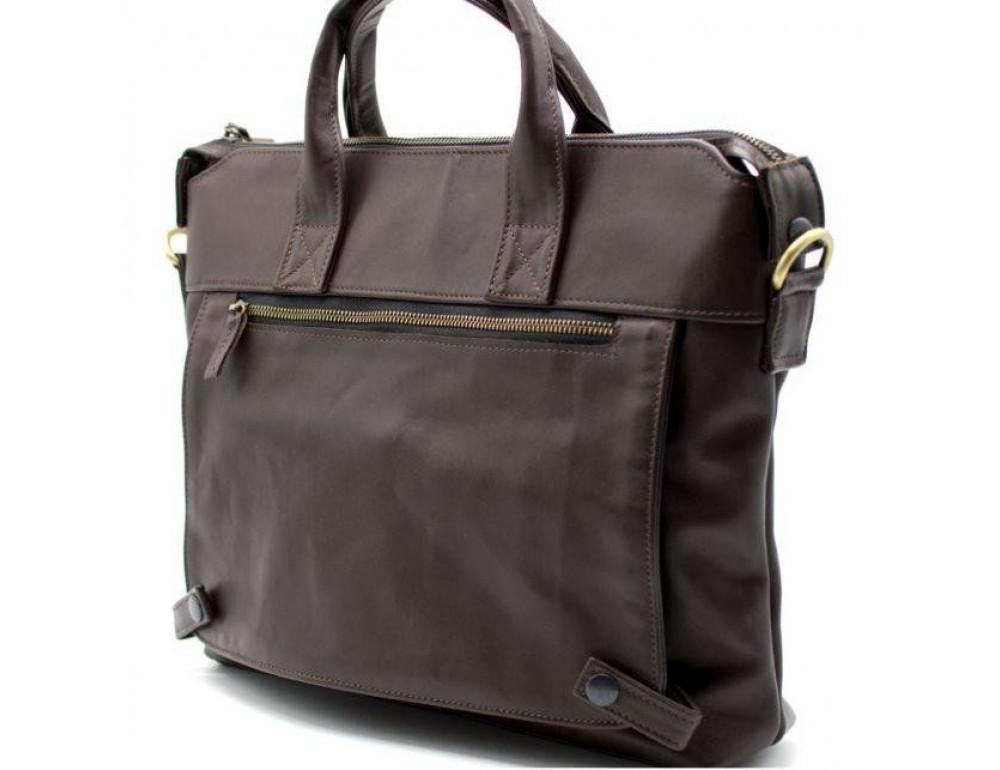 Коричневая кожаная сумка под документы TARWA  GC-7120-2md - Фото № 7