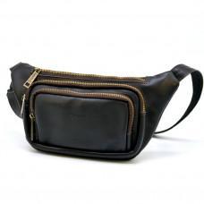 Тёмно-коричневая напоясная сумка кожаная TARWA GC-8179-3md