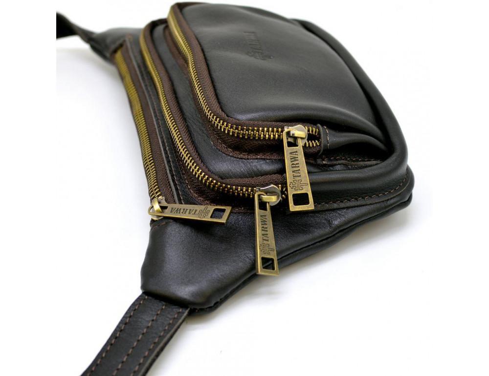Тёмно-коричневая напоясная сумка кожаная TARWA GC-8179-3md - Фото № 2