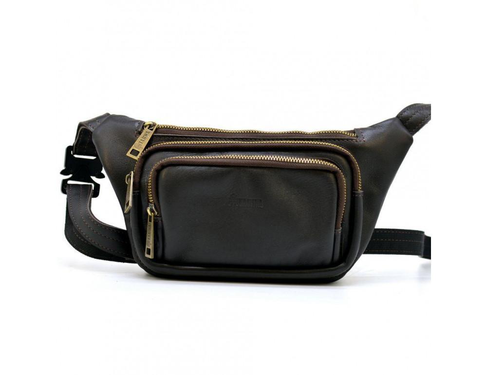 Тёмно-коричневая напоясная сумка кожаная TARWA GC-8179-3md - Фото № 6