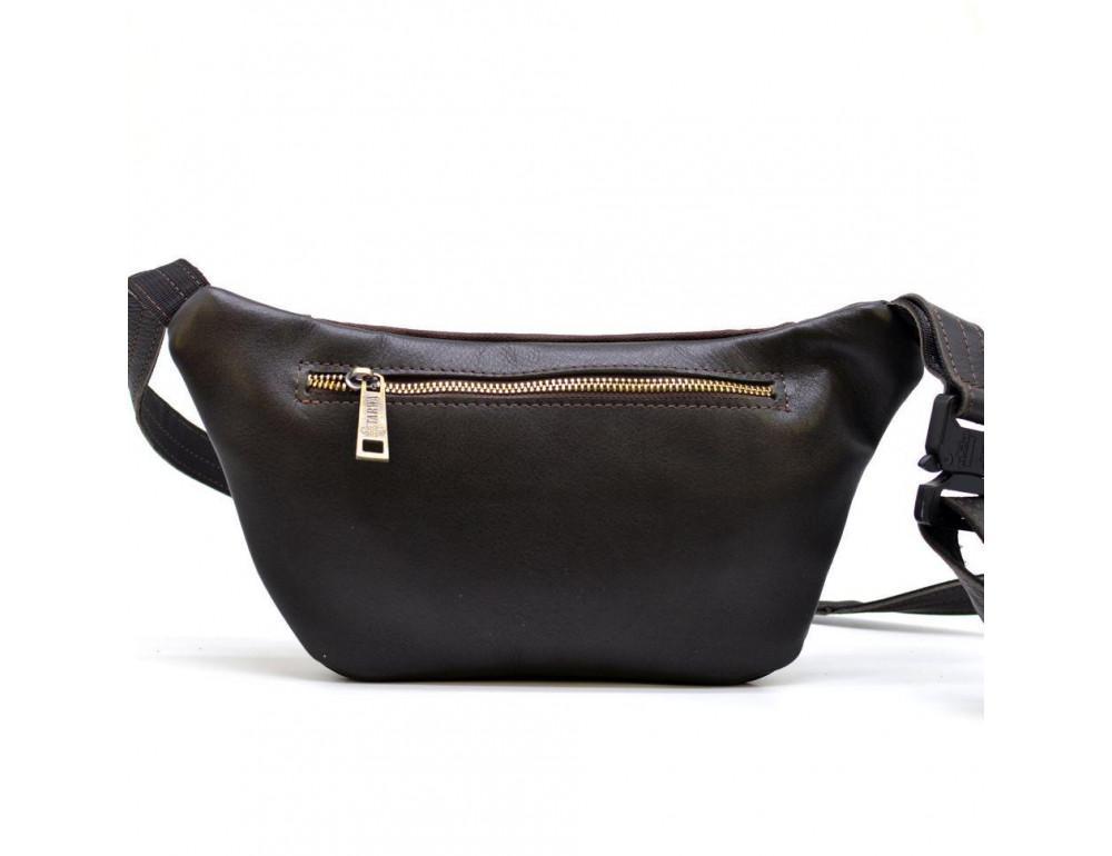 Тёмно-коричневая напоясная сумка кожаная TARWA GC-8179-3md - Фото № 3
