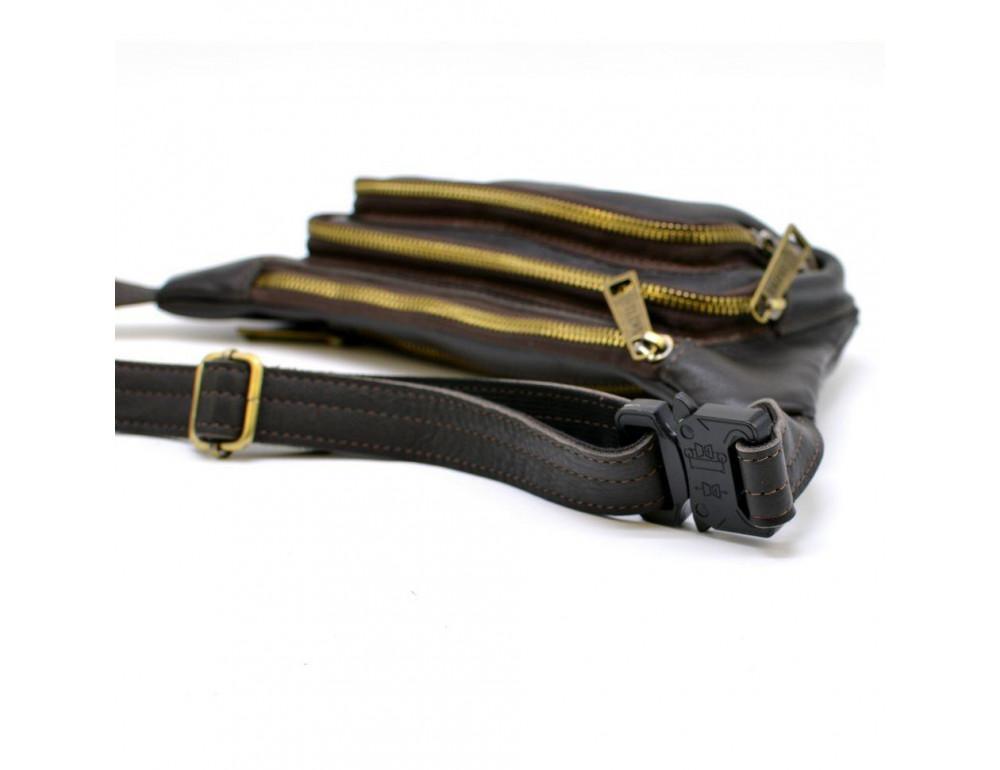 Тёмно-коричневая напоясная сумка кожаная TARWA GC-8179-3md - Фото № 4