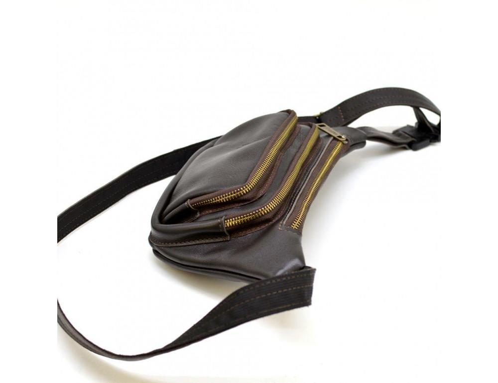 Тёмно-коричневая напоясная сумка кожаная TARWA GC-8179-3md - Фото № 5