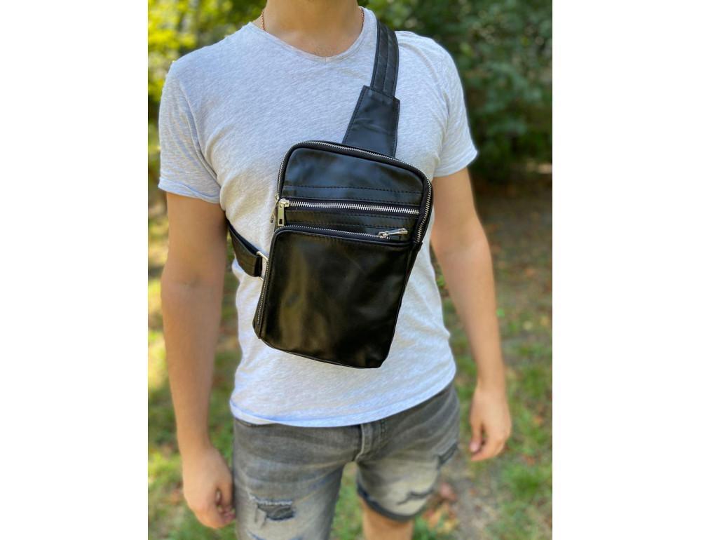 Чёрная кожаная сумка-рюкзак через плечо Newery N6896GA - Фото № 7
