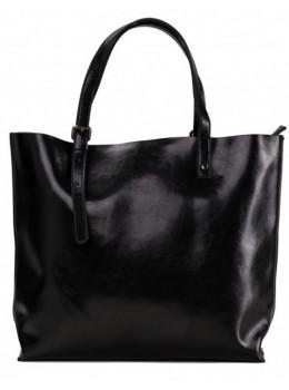 Чорна шкіряна сумка шоппер Grays GR-2011A