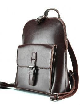 Коричневая кожаная сумка-рюкзак Grays GR-830B