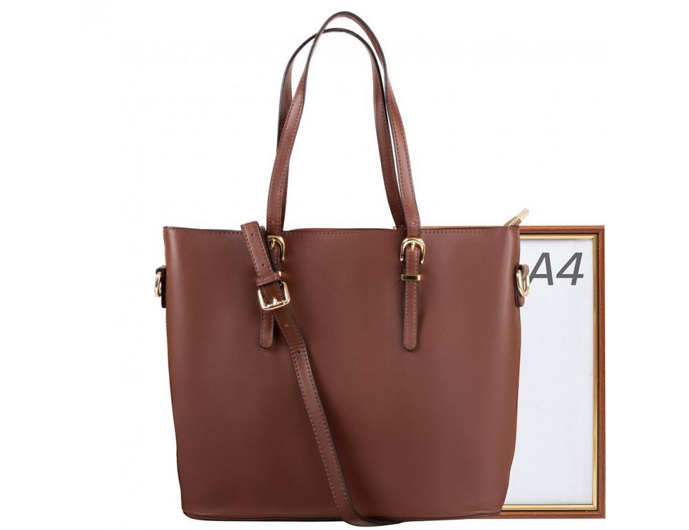 Женская кожаная сумка Grays GR3-173BR коричневый - Фото № 8