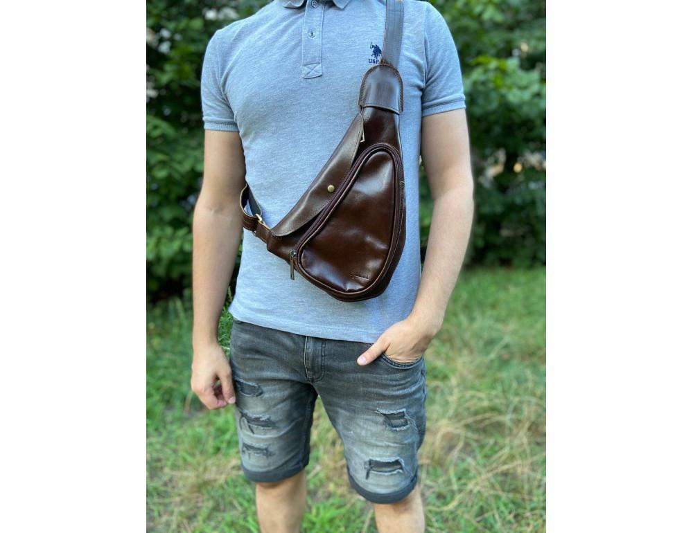 Трендовый кожаный мужской рюкзак на одно плечо TARWA GX-3026-4lx - Фото № 2