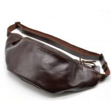Бордовая кожаная сумка на пояс TARWA GX-3036-4lx