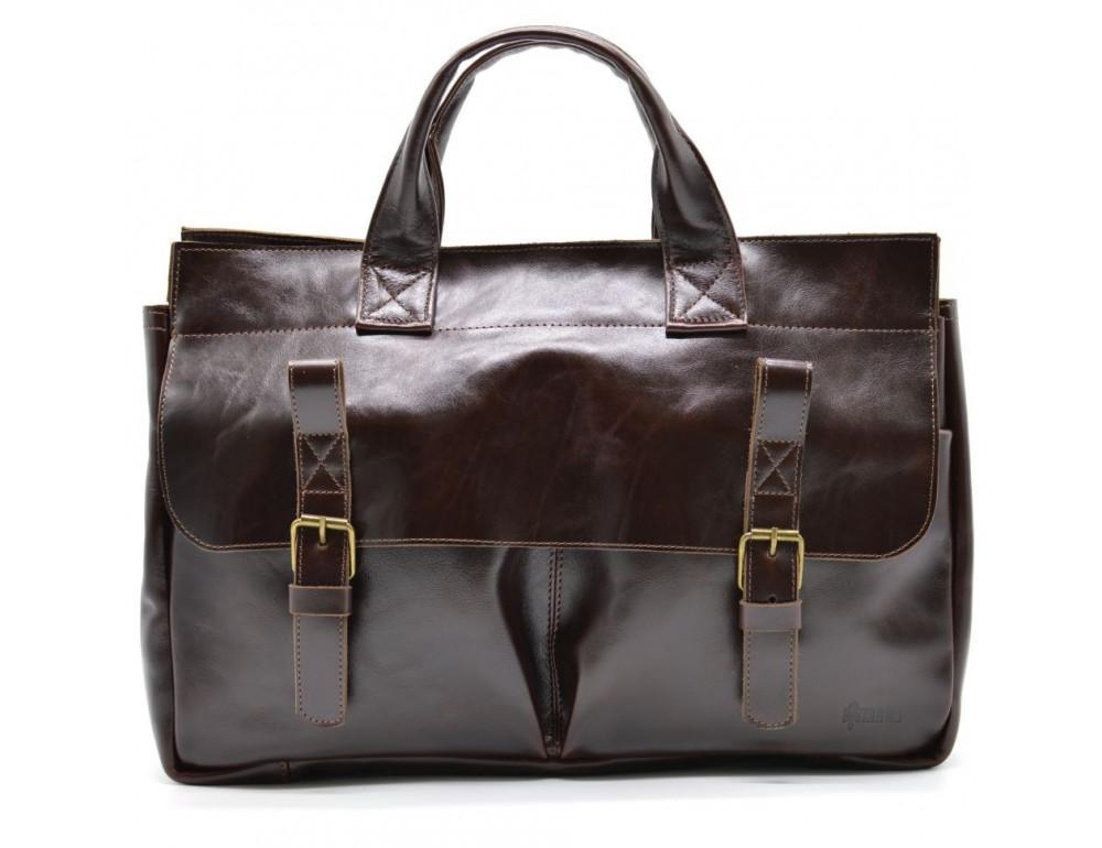 Бордово-коричневый кожаный портфель TARWA GX-7107-3md - Фото № 2
