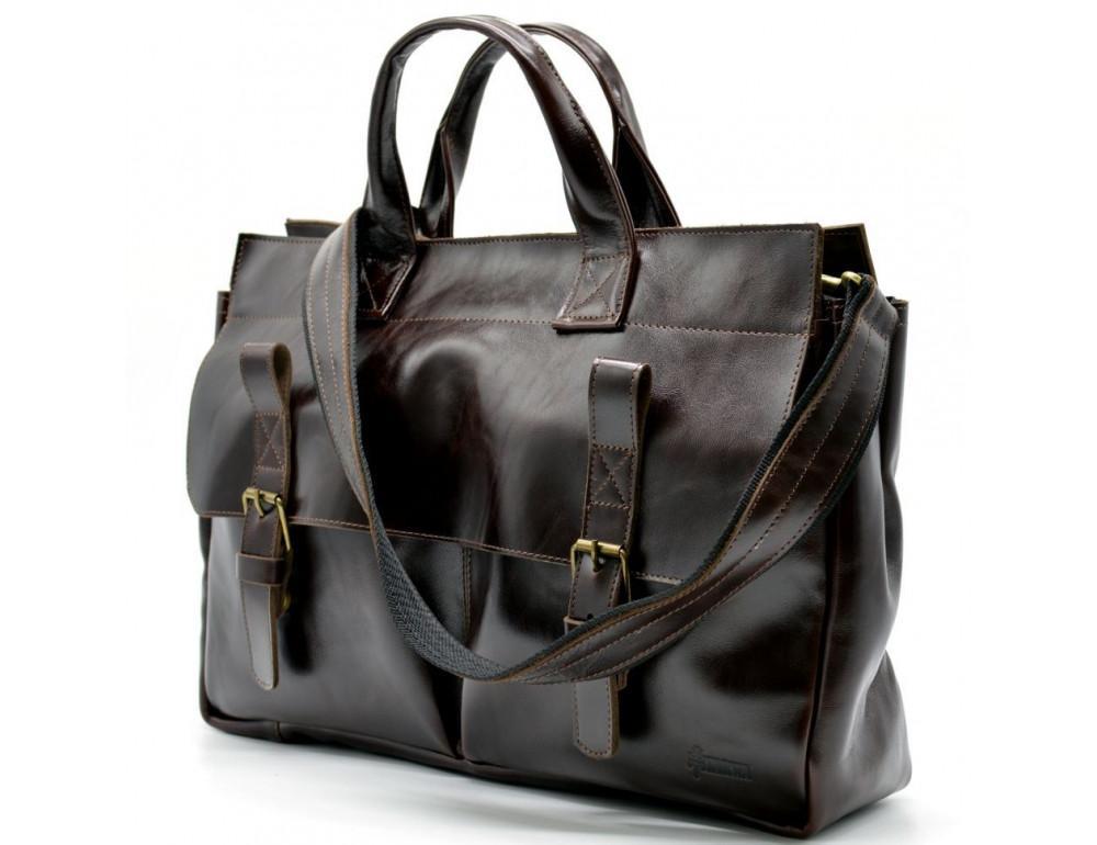 Бордово-коричневый кожаный портфель TARWA GX-7107-3md - Фото № 1