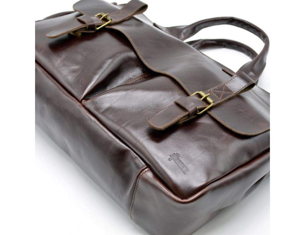 Бордово-коричневый кожаный портфель TARWA GX-7107-3md - Фото № 4