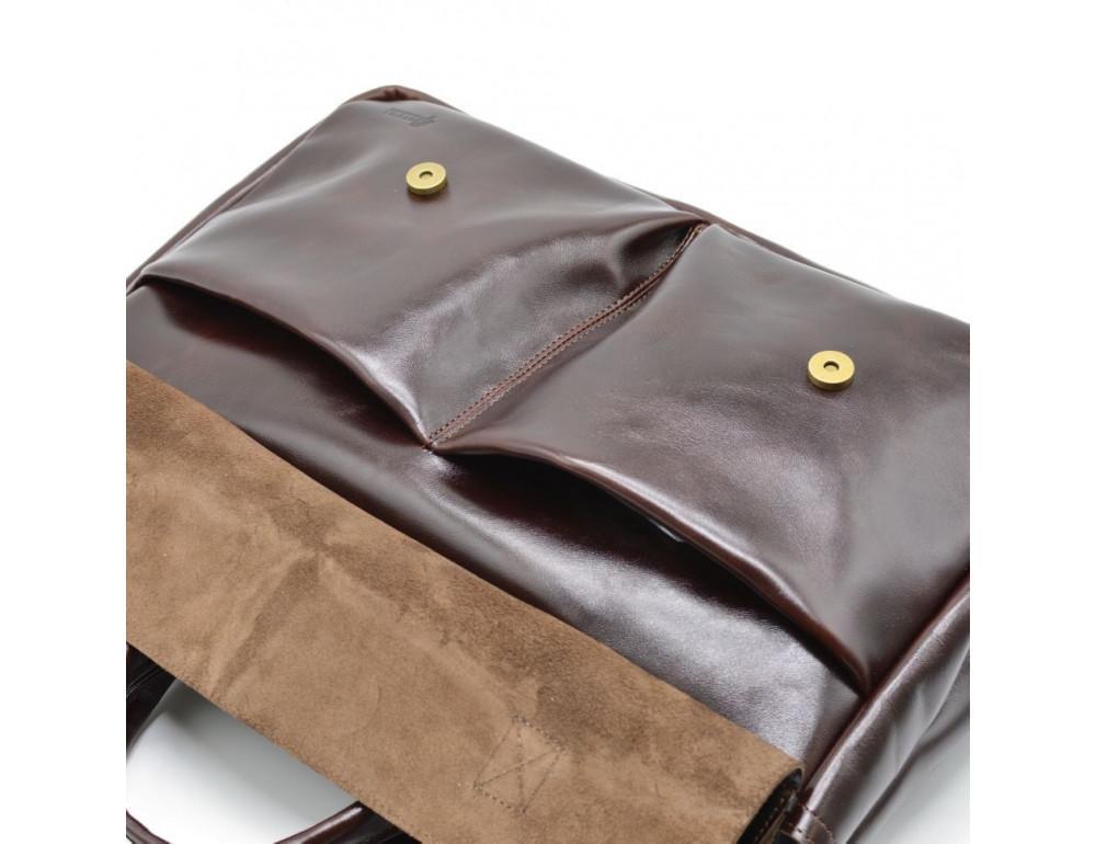 Бордово-коричневый кожаный портфель TARWA GX-7107-3md - Фото № 5