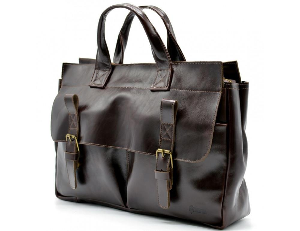 Бордово-коричневый кожаный портфель TARWA GX-7107-3md - Фото № 7