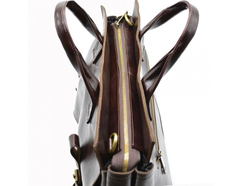 Бордово-коричневый кожаный портфель TARWA GX-7107-3md - Фото № 8
