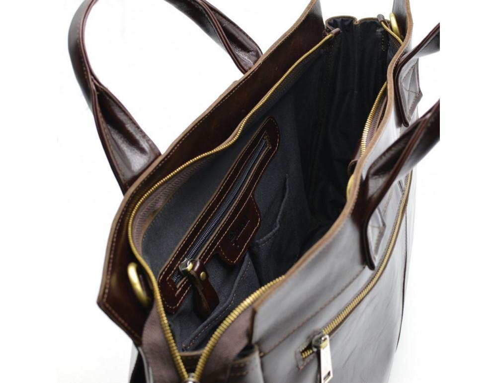 Бордово-коричневый кожаный портфель TARWA GX-7107-3md - Фото № 9