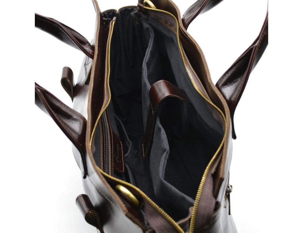 Бордово-коричневый кожаный портфель TARWA GX-7107-3md - Фото № 10