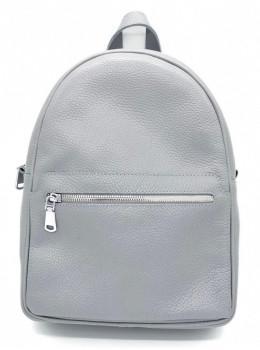 Сірий шкіряний рюкзак середнього розміру HEART H0001G