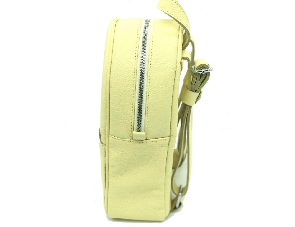 Желтый кожаный рюкзак среднего размера HEART H0001L - Фото № 3