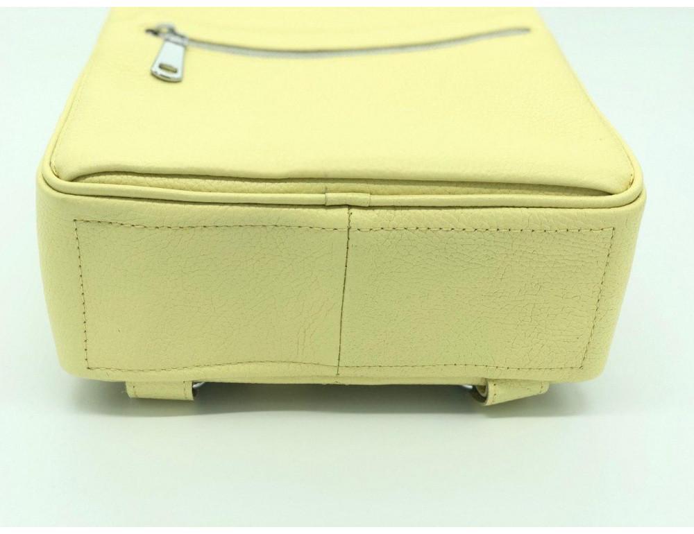 Желтый кожаный рюкзак среднего размера HEART H0001L - Фото № 4
