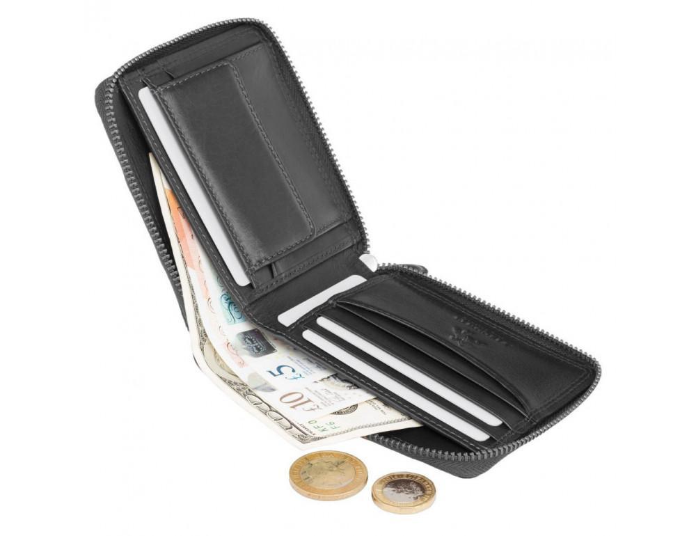 Чёрный маленький кошелек Visconti HT14 BLK Camden c RFID - Фото № 5