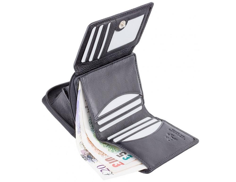 Чёрный кожаный кошелёк женский Visconti HT30 BLK Kew c RFID - Фото № 4
