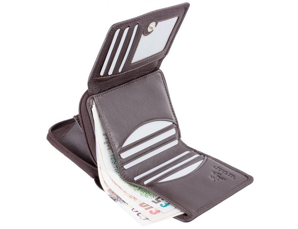 Тёмно-коричневый кожаный кошелёк женский Visconti HT30 CHOC Kew c RFID - Фото № 4