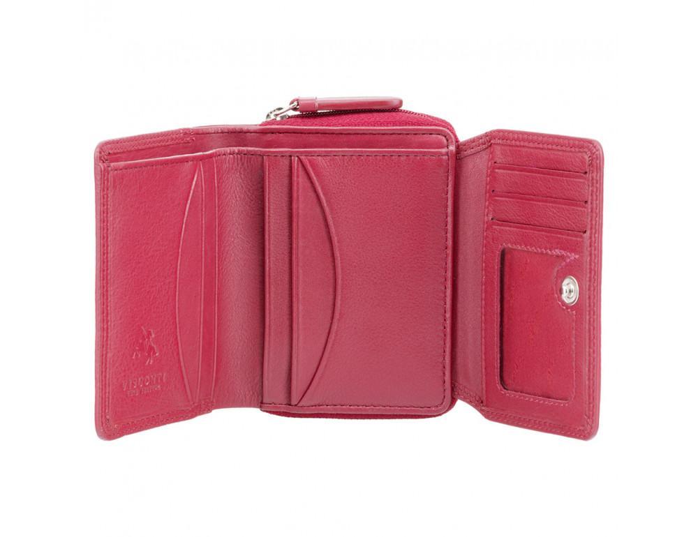 Красный кожаный кошелек маленьких размеров Visconti HT30 RED Kew c RFID - Фото № 2