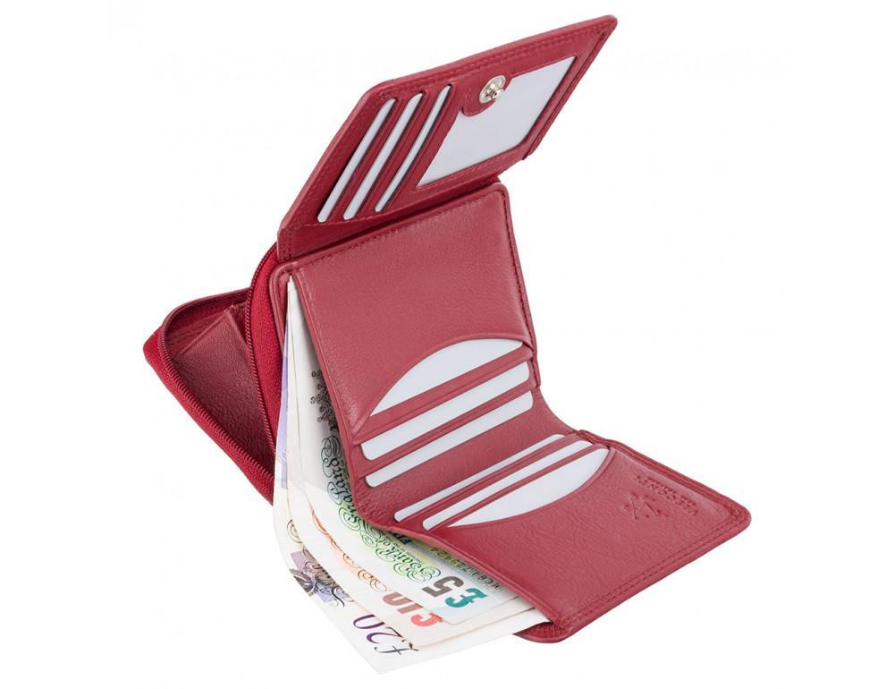 Красный кожаный кошелек маленьких размеров Visconti HT30 RED Kew c RFID - Фото № 4