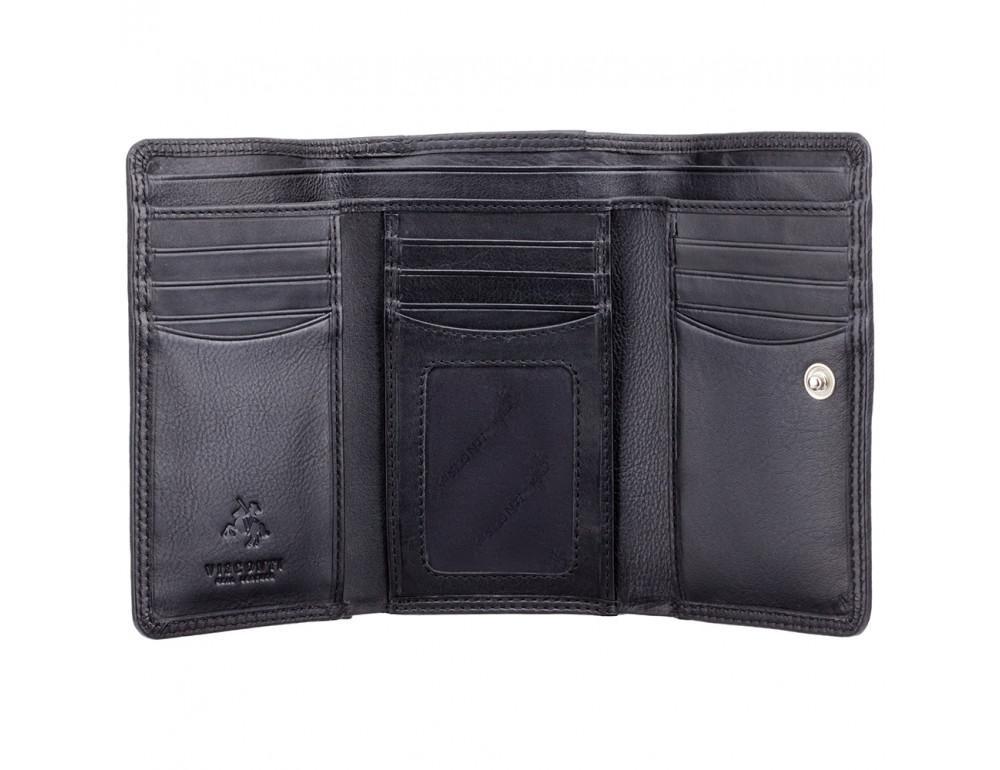 Чёрный женский кошелёк вертикальный Visconti HT32 BLK Picadilly c RFID - Фото № 2