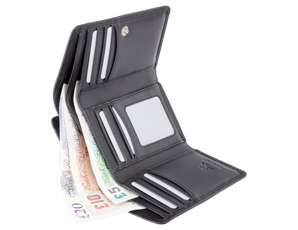 Чёрный женский кошелёк вертикальный Visconti HT32 BLK Picadilly c RFID - Фото № 4