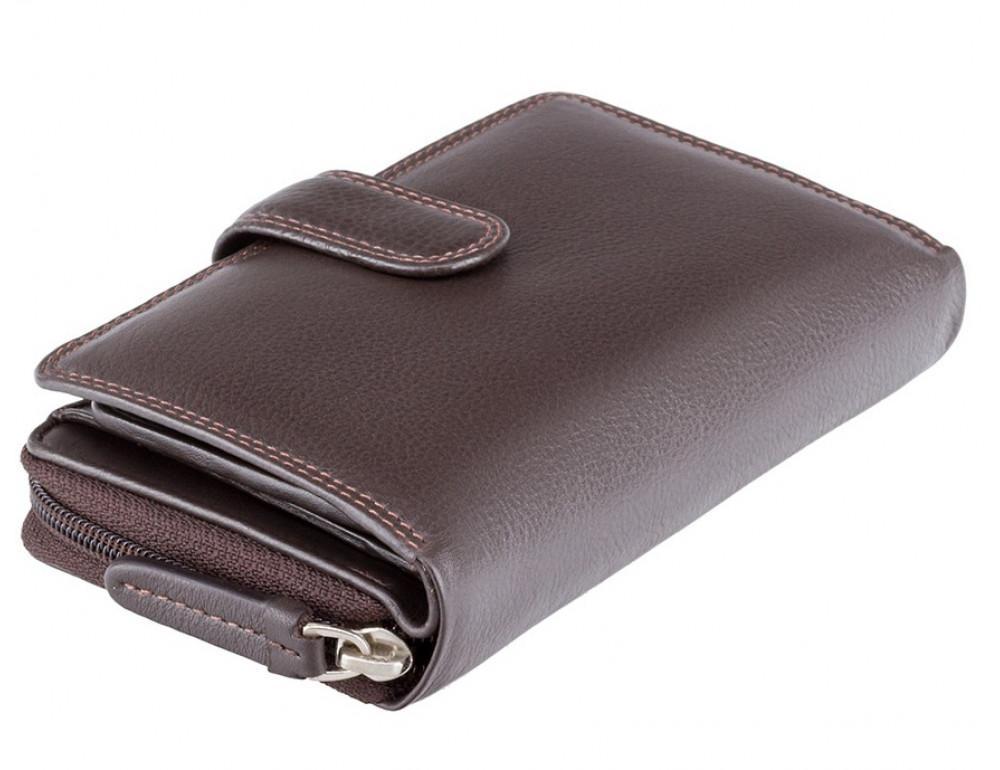 Тёмно-коричневый кожаный кошелек Visconti HT33 CHOC Madame c RFID - Фото № 3