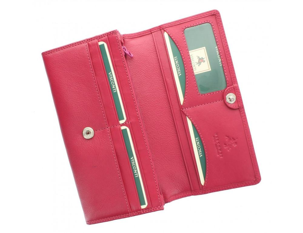 Большой женский кошелёк цвета фуксия Visconti HT35 FCS Buckingham c RFID (Fuchsia) - Фото № 3