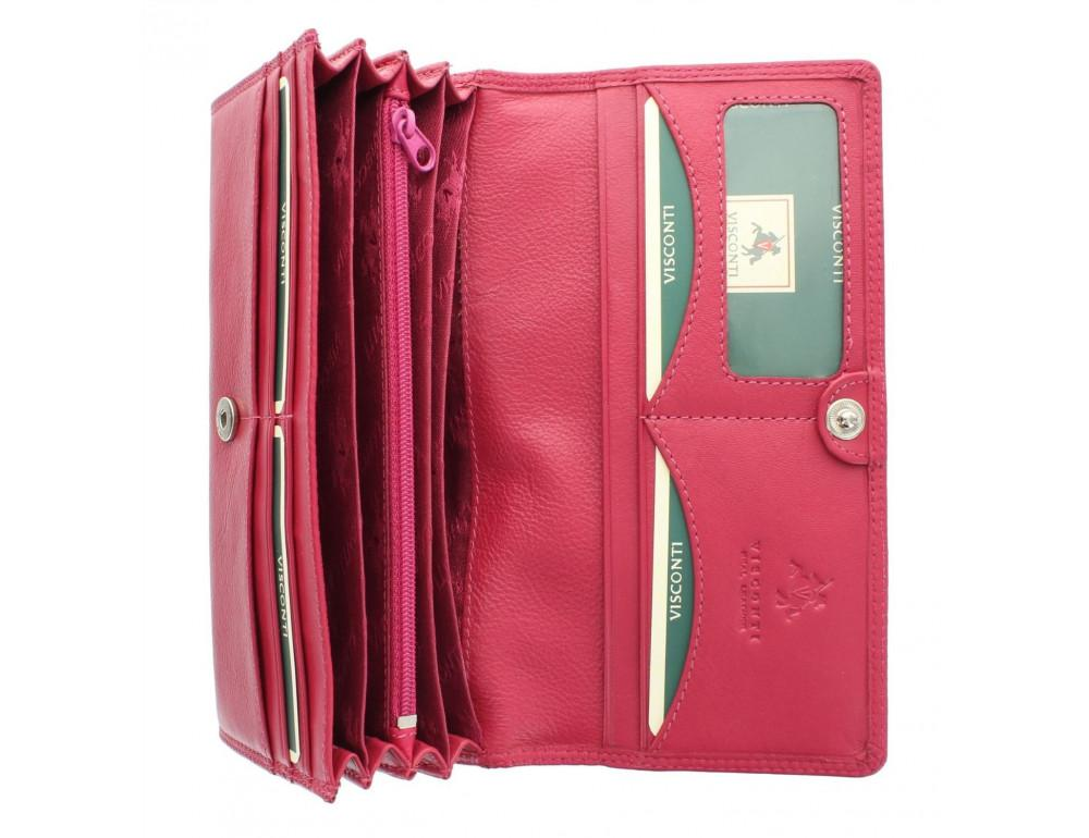 Большой женский кошелёк цвета фуксия Visconti HT35 FCS Buckingham c RFID (Fuchsia) - Фото № 4