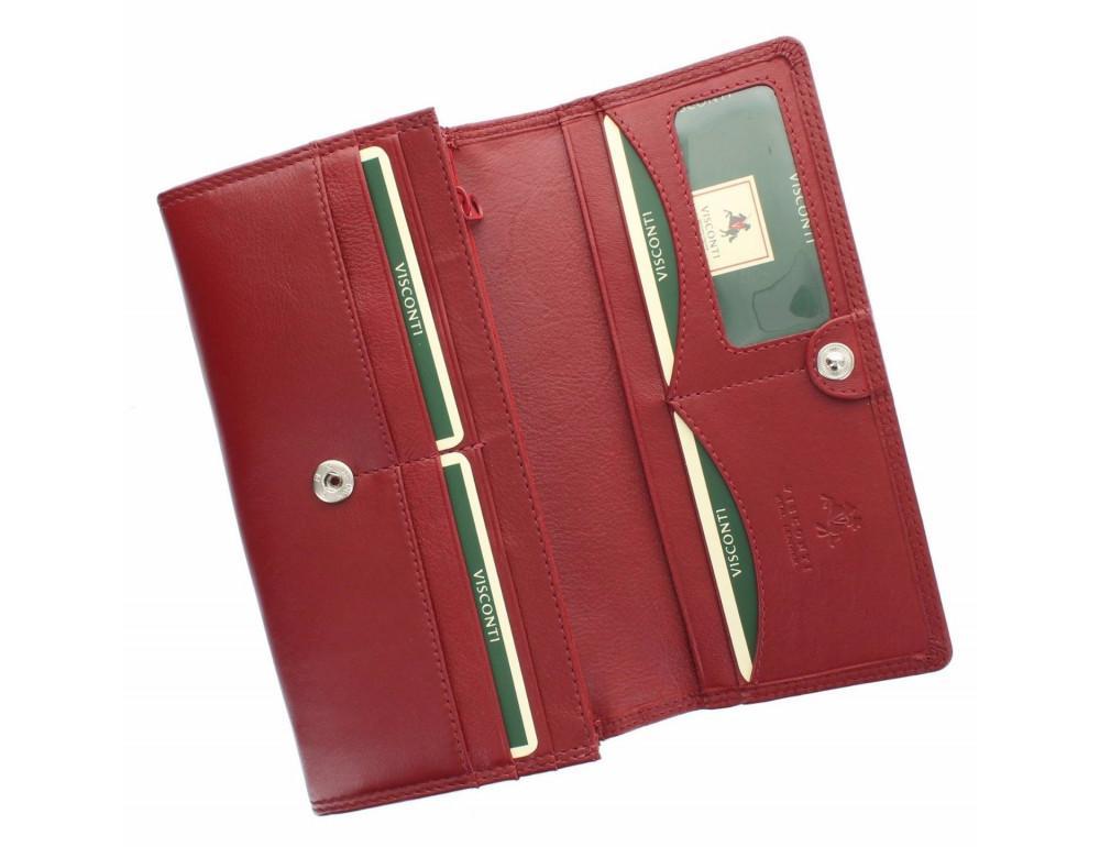 Красный женский кошелёк большого размера Visconti HT35 RED Buckingham c RFID (Red) - Фото № 4