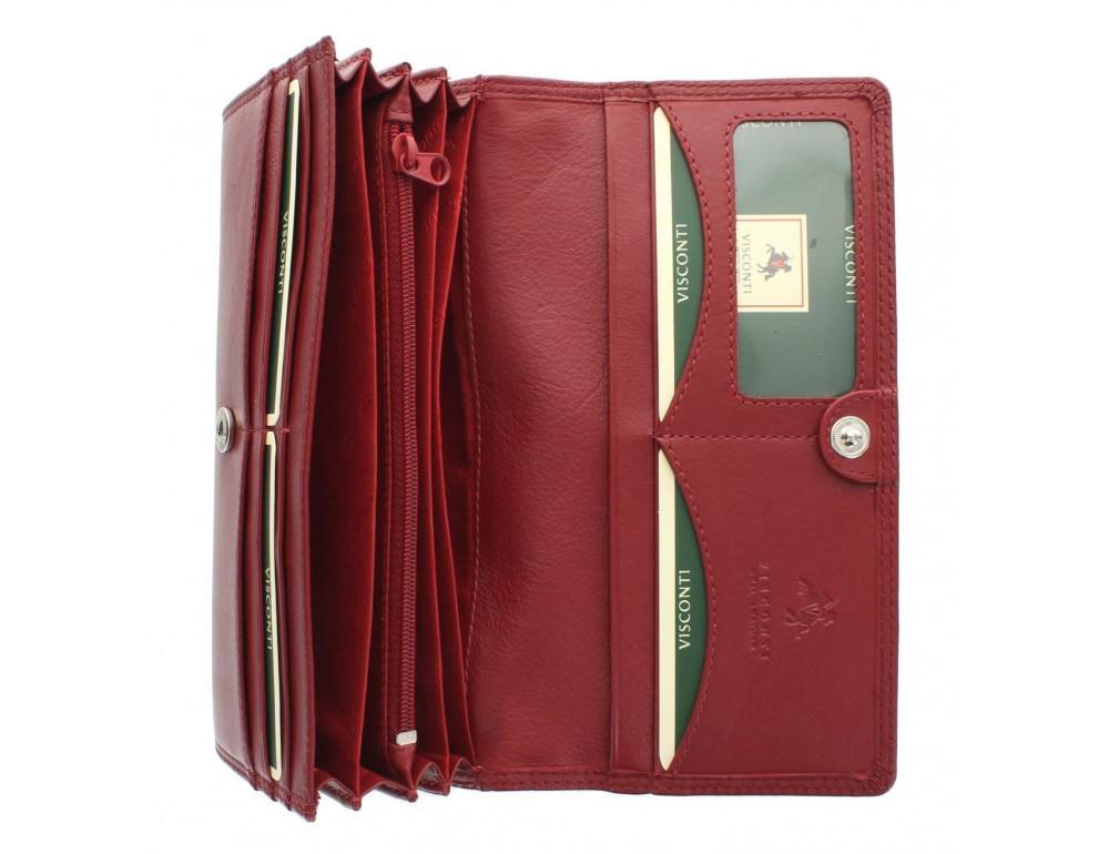 Красный женский кошелёк большого размера Visconti HT35 RED Buckingham c RFID (Red) - Фото № 6