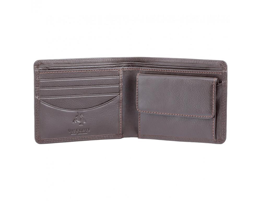 Стильный мужской бумажник Visconti HT7 CHOC Heritage коричневый - Фото № 3